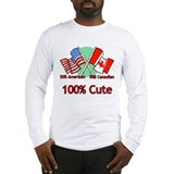 Canadian American 100% Cute Long Sleeve T-Shirt