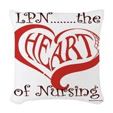 LPN, the Heart of nursing Woven Throw Pillow