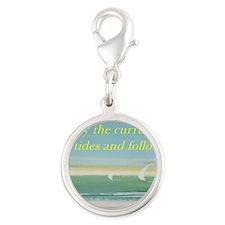 The beach Silver Round Charm