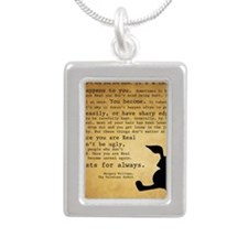 Velveteen Rabbit Print Silver Portrait Necklace
