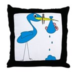 Funny Blue Stork Throw Pillow