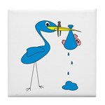 Funny Blue Stork Tile Coaster