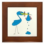 Funny Blue Stork Framed Tile