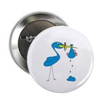 Funny Blue Stork Button