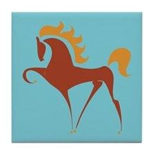 Horse Tile Coaster: Stylized Reddish Horse