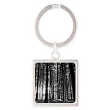 Black and White Forest Square Keychain