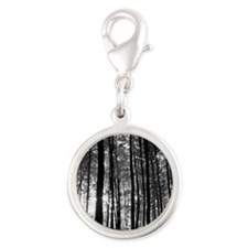Black and White Forest Silver Round Charm
