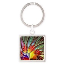 Fractal Bird of Paradise 2 Square Keychain