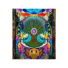Trippy Tree Owl Throw Blanket