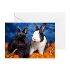 Tiny Tim and Dixie in Pumpkin Patch- Greeting Card
