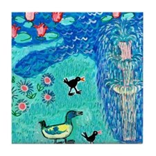 fountain with duck and moorhens Tile Coaster