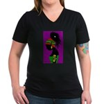 Uhuru Sasa! Women's V-Neck Dark T-Shirt