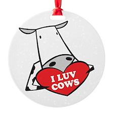 I Love Cows Ornament