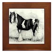 Gypsy Cob Horse Portrait Framed Tile