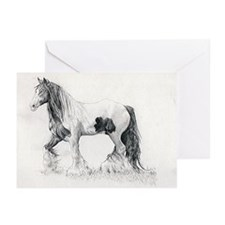 Gypsy Cob Horse Portrait Greeting Cards