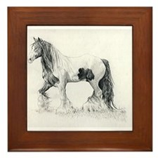 Gypsy Cob Horse Portrait Framed Tile