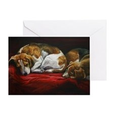 Sleeping Beagles Greeting Card