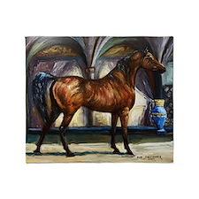 Bay Arabian Stallion with Background Throw Blanket
