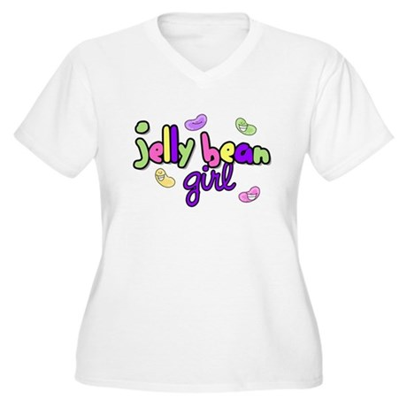 Jelly Bean Girl Women's Plus Size V-Neck T-Shirt
