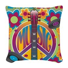 Tribute To Woodstock Woven Throw Pillow