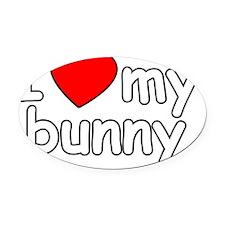 I Love My Bunny Oval Car Magnet