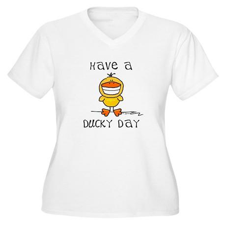 Ducky Day Women's Plus Size V-Neck T-Shirt