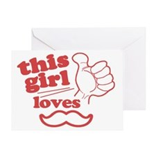 Girl Loves Mustache Greeting Card