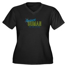 """Instant Human"" Women's Plus Size V-Neck Dark T-Sh"