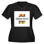 Quilting Queen Women's Plus Size V-Neck Dark T-Shi