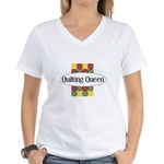 Quilting Queen Women's V-Neck T-Shirt