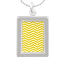 Yellow Zigzag Silver Portrait Necklace