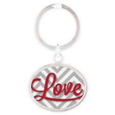 Love in red Oval Keychain