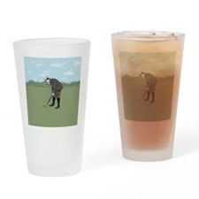 Vintage Style Golfer putting Drinking Glass