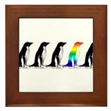 Rainbow Penguin Framed Tile