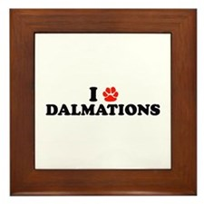 I Heart (Pawprint) Dalmations Framed Tile