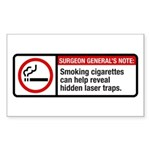 smoking reveals hidden laser traps Sticker (Rectan