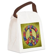 Peace Sign Note Card Canvas Lunch Bag