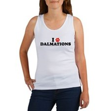 I Heart (Pawprint) Dalmations Women's Tank Top