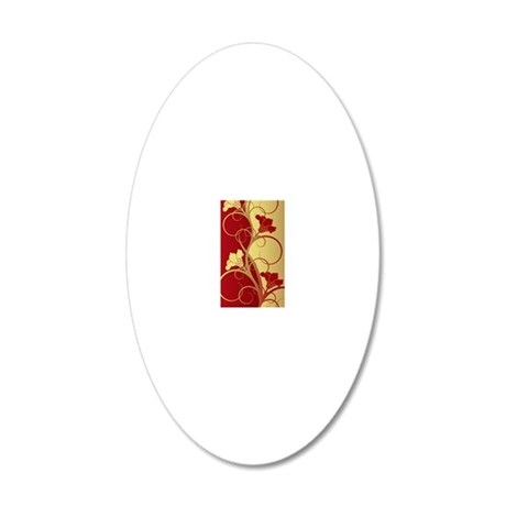 Red/Gold Flowers 20x12 Oval Wall Decal