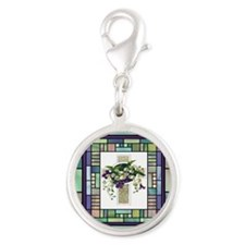 Stained Glass Cross Silver Round Charm