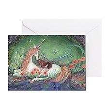 Unicorn and child fantasy art Greeting Card