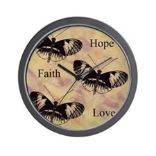 hope faith love Wall Clock