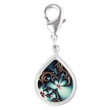 blue bronze slider case Silver Teardrop Charm