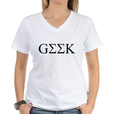 Geek in Greek Letters Womens V-Neck T-Shirt