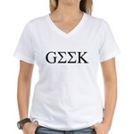 Geek in Greek Letters Women's V-Neck T-Shirt