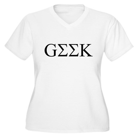 Geek in Greek Letters Womens Plus Size V-Neck T-S