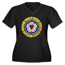 Grace-Faith- Women's Plus Size Dark V-Neck T-Shirt