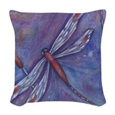 Purple Dragonfly Woven Throw Pillow