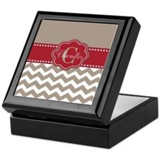 Taupe Red Chevron Personalized Keepsake Box