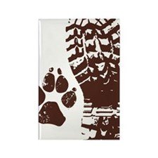 Hiking Boot n Paw Sticker Rectangle Magnet